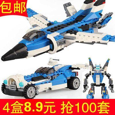小颗粒飞机女男孩拼插组装拼图军事乐高积木玩具机器人擎天柱高达