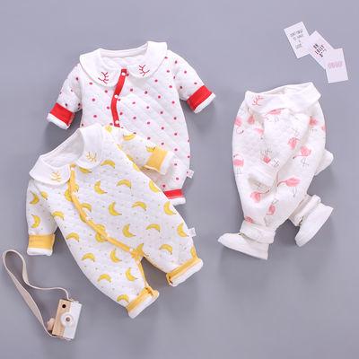 婴儿连体衣夹棉保暖衣套装冬新生儿衣服春秋外出宝宝春装0到3个月