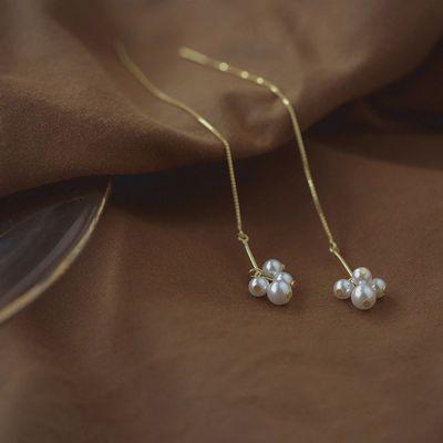 S925纯银气质流苏长款珍珠耳线女小珍珠耳坠耳环日韩版超仙百搭新