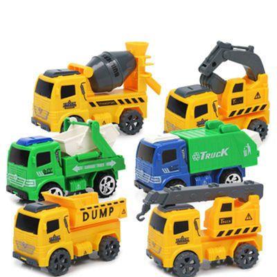 1只6只汪汪队立大功儿童工程车玩具挖土挖掘机惯性套装环卫垃圾车