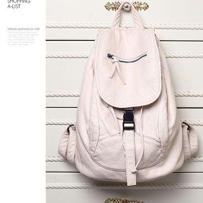【送神秘礼物】真皮大容量双肩包女韩版时尚学院风背包休闲包包女