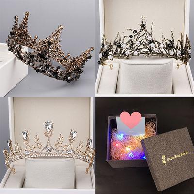 巴洛克黑色新娘皇冠十八岁生日成人礼物女神头饰大气网红公主王冠