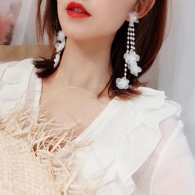 日韩性感蕾丝花瓣夏季耳环女流苏网红耳坠长款气质显脸瘦耳钉耳饰