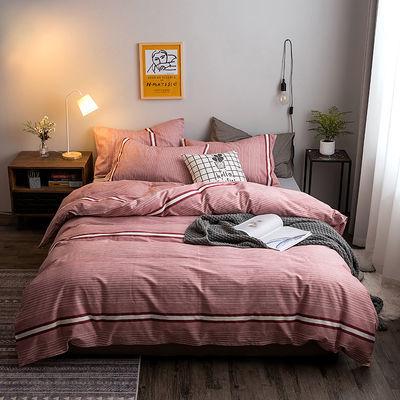 100%纯棉四件套床上用品1.8米全棉被套床单家纺三件套床笠款简约【2月29日发完】