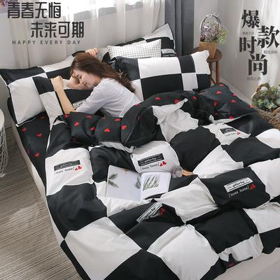 ins网红床上用品四件套被套床单人1.5m双人1.8米学生宿舍三4件套【2月29日发完】