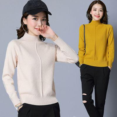 秋冬韩版新款针织衫宽松半高领毛衣女套头短款长袖百搭加厚打底衫