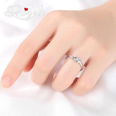 七亚纯银戒指女士时尚个性简约ins潮网红999足银食指环开口可调节