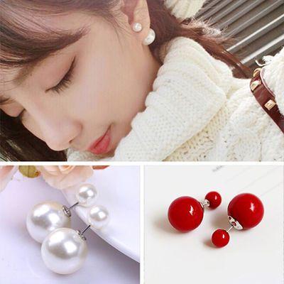 【2对装】百搭防过敏耳环社会女珍珠耳钉简约气质耳饰红色珠耳坠