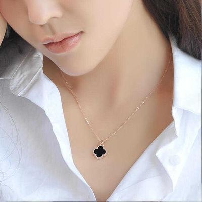 钛钢四叶草项链女不掉色银锁骨项链学生韩版简约脖子饰品情人礼物