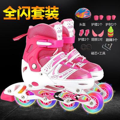 卡卡拉溜冰鞋儿童全套装男女旱冰轮滑鞋直排轮可调3-4-10岁初学者
