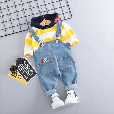 男童秋季牛仔背带裤套装婴儿童纯棉小孩衣服宝宝秋装0-1-2岁半3潮