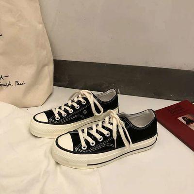 港味1970s帆布鞋女学生韩版原宿复古风百搭平底板鞋子潮