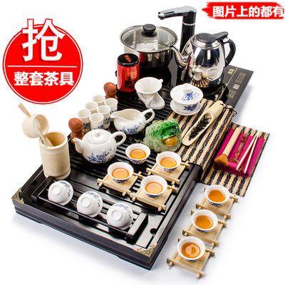 聚森紫砂功夫茶具套装家用实木茶盘泡茶壶茶杯子陶瓷托盘配件特价