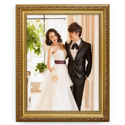 新款实木相框挂墙欧式7 16 24 36 48寸婚纱照相框创意摆台结婚照