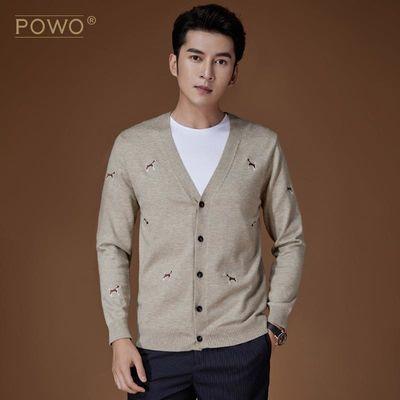 POWO针织衫长袖V领男士针织开衫毛衣男式宽松外套2019秋季新款潮