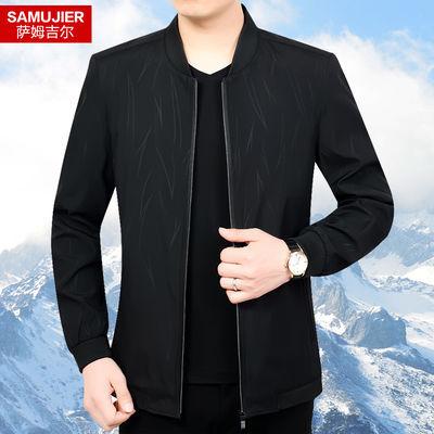 男士夹克外套2019新款春秋装休闲薄款棒球领中年男装爸爸父亲外套