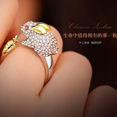 十二生肖戒指男女款食指开口个性时尚镶钻镀纯银本命佛转运指环潮