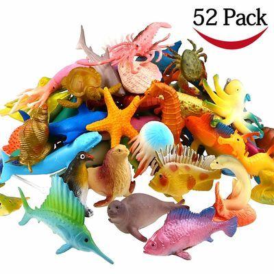 52只动物恐龙海底总动员模型玩具恐龙海洋世界动物套装鲨鱼