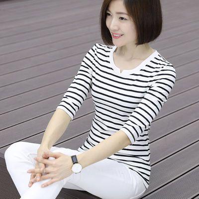 优衣秋衣t恤女条纹t新款七分袖白色t恤秋装打底衫中袖上衣外穿
