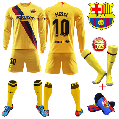 19-20新款巴萨客场球衣巴塞罗那10号梅西短袖长袖足球服比赛队服