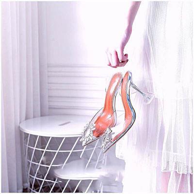 包头透明凉鞋女仙女风夏细跟后空单鞋性感名媛一字带水晶高跟鞋女