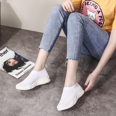 2019夏季休闲鞋女平底轻便运动鞋网面透气百搭袜子鞋春季新款单鞋