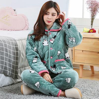 睡衣女款冬季珊瑚绒加厚加绒三层夹棉袄保暖套装法兰绒家居服外穿