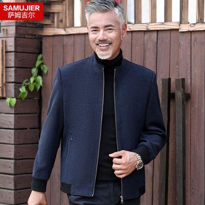 爸爸夹克外套2019新款春秋中年男士外套休闲羊毛呢子中老年人男装