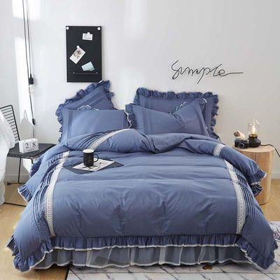 【可定做】100%纯棉被套床裙四件套全棉床罩韩版公主风床上用品棉