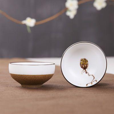 粗陶品茗杯景德镇手绘白瓷茶杯子陶瓷功夫茶具单茶盏小普洱杯包邮