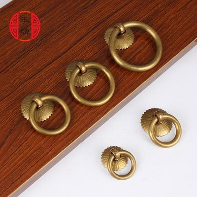 铜拉环中式仿古纯铜家具柜门圆环简约铜环抽屉中药柜拉手古铜把手