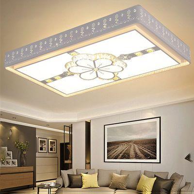 客厅灯LED吸顶灯卧室灯长方形水晶大厅灯简约现代大气灯房间灯具