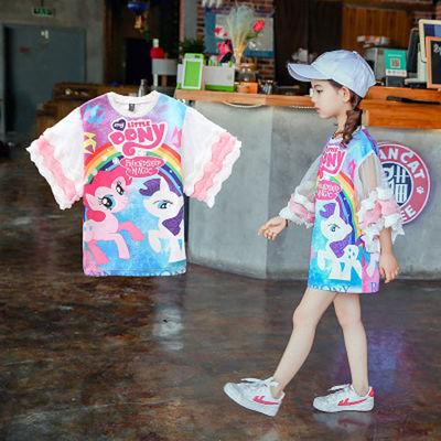 2020新款儿童T恤女童短袖T恤中长款上衣夏装新款潮宝洋气卡通童装