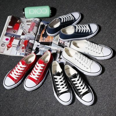 夏季男女士帆布鞋休闲鞋韩版学生布鞋潮板鞋情侣低帮高帮小白鞋子