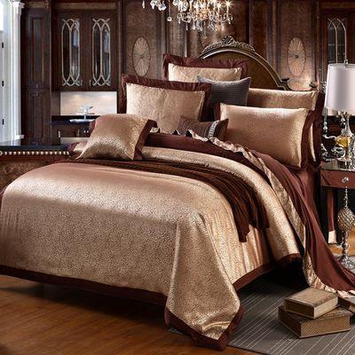 新款纯棉床单四件套欧式双人2.0m被套全棉贡缎提花床上用品高档品