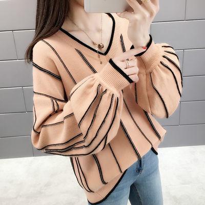 加绒不加绒毛衣女学生韩版宽松冬外穿v领条纹灯笼袖针织蝙蝠衫潮