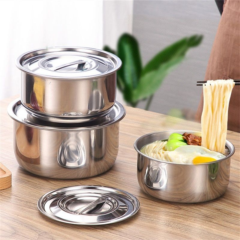 【三件套带盖】加厚不锈钢汤盆加厚带盖油盆多用盆汤锅汤碗收纳盆