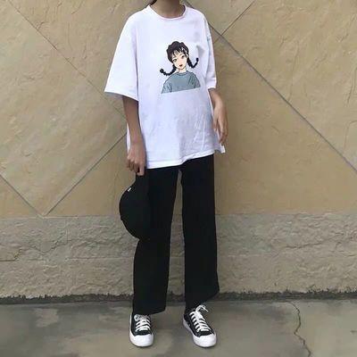 西装直筒裤子女学生韩版宽松夏新款高腰垂感阔腿裤黑色九分休闲裤