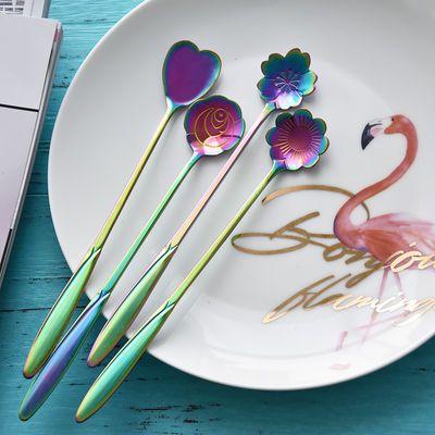 网红花朵勺不锈钢长柄冰勺吧创意咖啡杯勺可爱甜品茶勺樱花搅拌勺