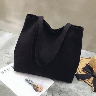 帆布包女单肩韩版ins纯色简约妈妈包包ulzzang大容量手提女生布包