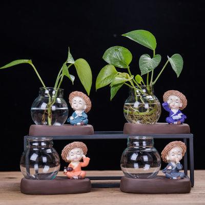 绿萝花瓶花插陶瓷水培容器玻璃小花器客厅摆件家居装饰品茶桌花盆