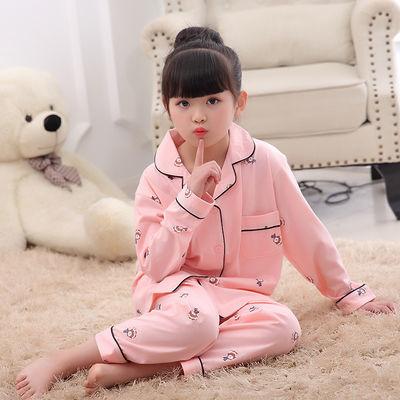 儿童睡衣女童春秋纯棉长袖长裤开胸翻领女孩子套装中大童装家居服