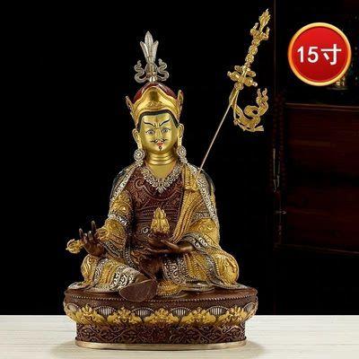 纯铜莲花生大士佛像家用供奉神佛摆件西藏供佛莲师古色鎏金银15寸