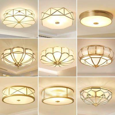 美式led吸顶灯圆形卧室温馨浪漫客厅灯现代简约大气房间全铜灯具
