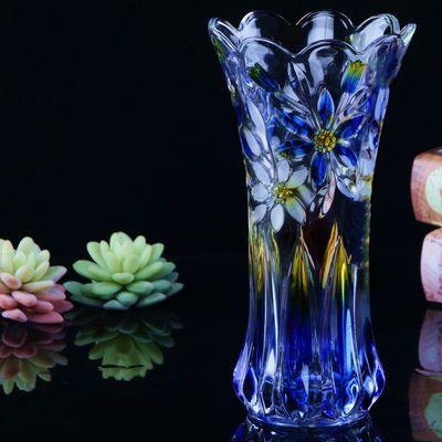 彩色花瓶玻璃透明加厚 炫彩色水养富贵竹插鲜花百合客厅装饰摆件