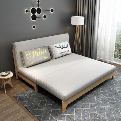 沙发床两用客厅小户型单人双人坐卧多功能懒人可折叠实木沙发床
