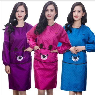 韩版做饭围裙长袖女防水厨房成人罩衣反穿衣罩可爱带袖围裙包邮
