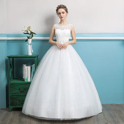 轻主婚纱礼服2019新款新娘结婚迎宾奢华森系显瘦简约一字肩齐地女