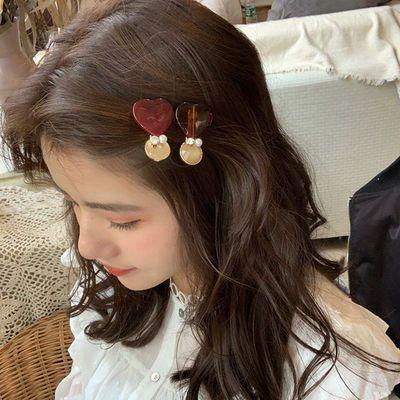 奇美拉 发饰头饰 韩版闪钻合金边夹成熟气质女心形刘海夹2件套