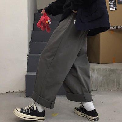 大码女装春季200斤宽松显瘦ins直筒裤女学生韩版胖mm工装阔腿长裤